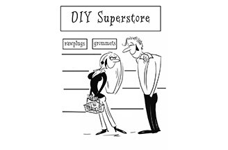 Cartoon of couple outside DIY store