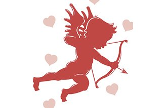 Cupid with arch and bow cartoon.