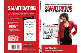 Picture of Mary Balfour, MD of Drawing Down the Moon, on the cover of her Smart Dating Book