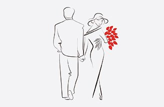 Drawing of couple holding hands with red flowers