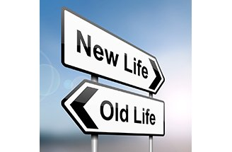 New life vs old life road signs - a metaphor for life