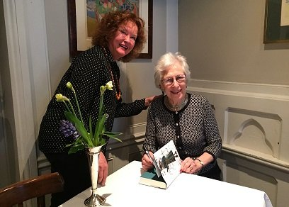Drawing Down the Moon Matchmaker Mary Balfour with Penrose Halson author of Marriages are Made in Bond Street at Hardys Brasserie in London